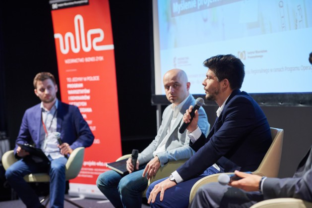 Od lewej Krzysztof Bogomaz (PLEO design), Adam Fudala (Corton Sp. z o.o.), Bart Zimny (VORM lab., Clime Inc.)