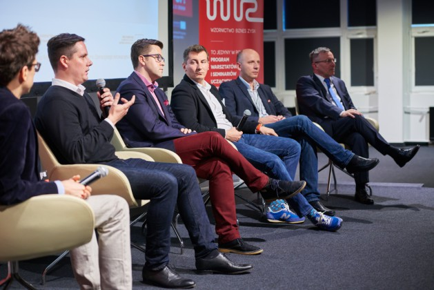 od lewej Dariusz Żuk (Polska Przedsiębiorcza), Karol Król (Polskie Towarzystwo Crowdfundingu), Jacek Błonski (Zernike Meta Ventures), Mariusz Turski (AIP Seed Capital), dr Michał Bańka (PARP), dr Jacek Adamski (Lewiatan Business Angels)