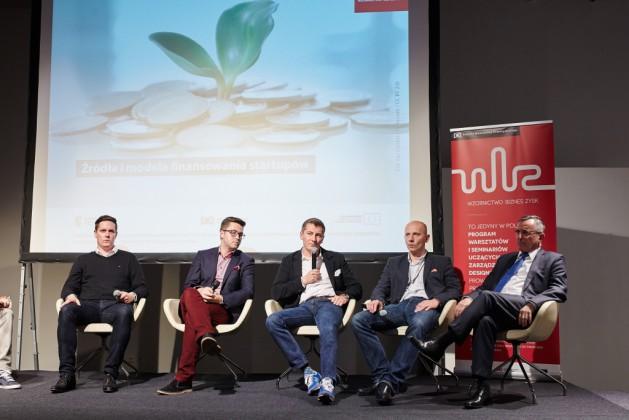 od lewej Karol Król (Polskie Towarzystwo Crowdfundingu), Jacek Błonski (Zernike Meta Ventures), Mariusz Turski (AIP Seed Capital), dr Michał Bańka (PARP), dr Jacek Adamski (Lewiatan Business Angels)