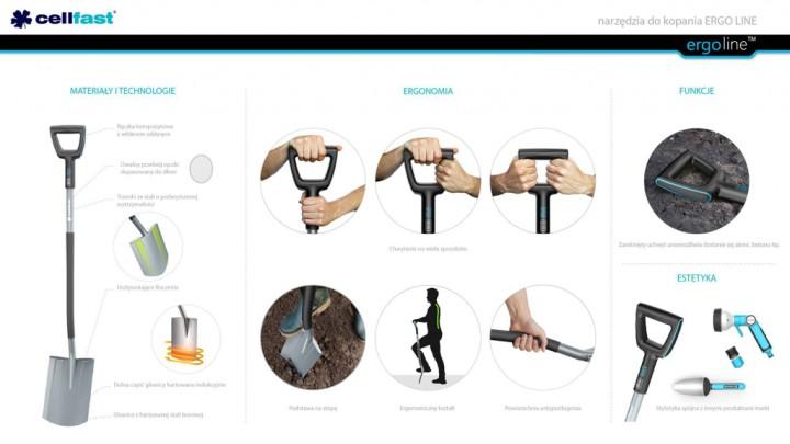 Narzędzia do kopania Ergo Line/ projekt: KABO & PYDO design studio/producent: Cellfast Sp. z o.o.