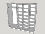 Szafa/garderoba z przesuwanymi segmentami. | Etap projektu - przygotowanie do produkcji.