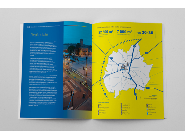 """Projekt i skład DTP raportu """"Częstochowa – nowa lokalizacja na mapie usług biznesowych"""""""