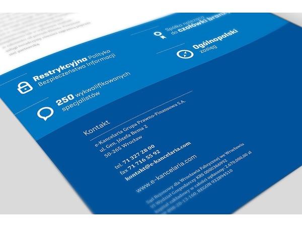 Projekt broszury firmowej dla spółki E-Kancelaria
