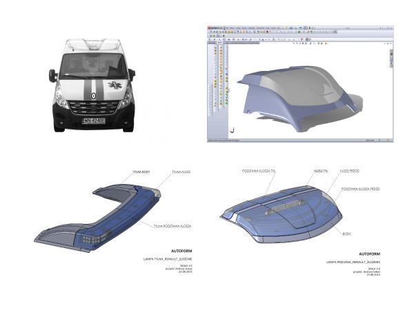 projekty lamp zespolonych – przedniej i tylnej do ambulansu ratowniczego na bazie samochodu Renault Master L2H2
